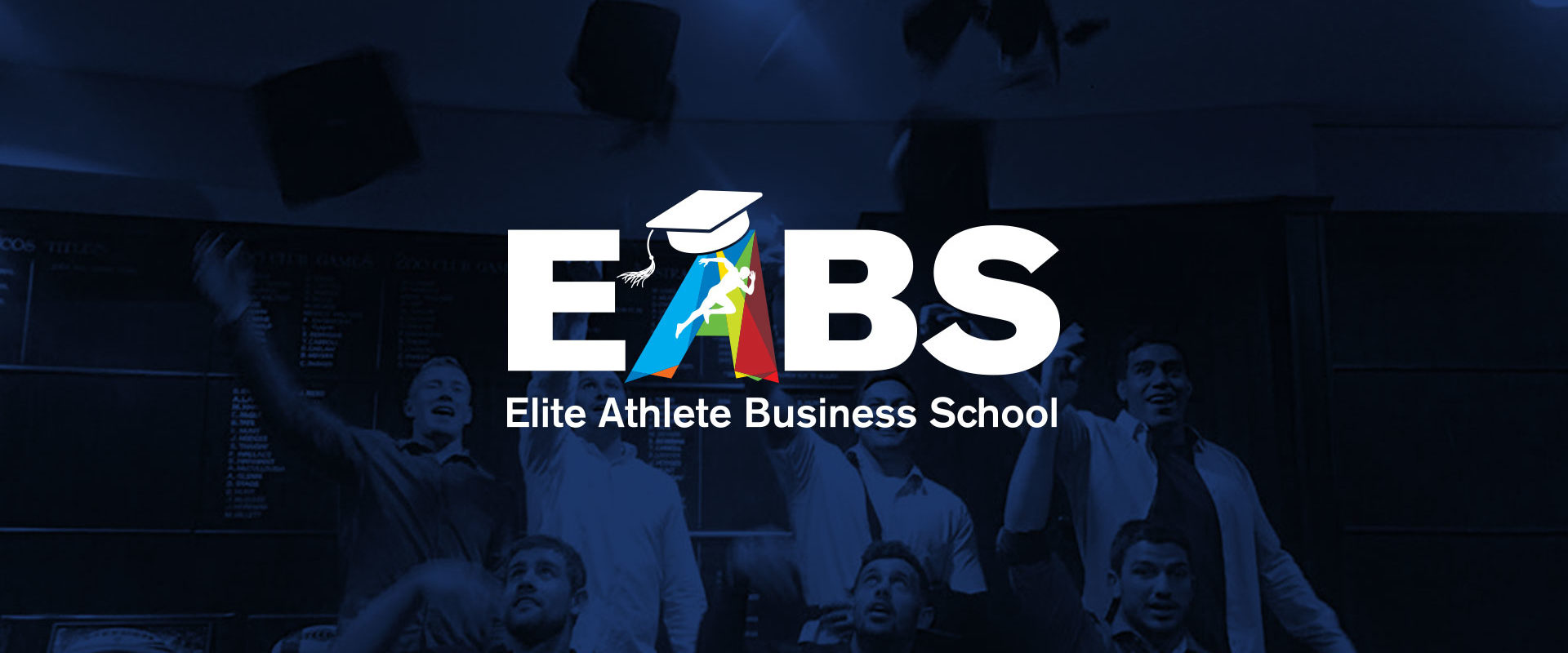 EABS logo with Graduates in the background